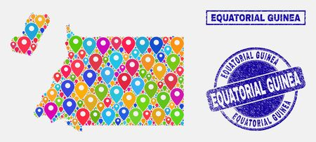 Vector bright mosaic Equatorial Guinea map and grunge stamps. Abstract Equatorial Guinea map is formed from random bright geo locations. Stamps are blue, with rectangle and rounded shapes.