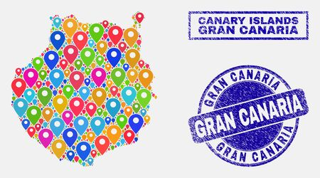 Vector bright mosaic Gran Canaria map and grunge stamps. Abstract Gran Canaria map is designed from randomized bright geo positions. Stamps are blue, with rectangle and round shapes. Ilustração