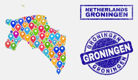 Vector colorful mosaic Groningen Province map and grunge stamp seals. Flat Groningen Province map is formed from random colorful map locations. Stamp seals are blue, with rectangle and rounded shapes.