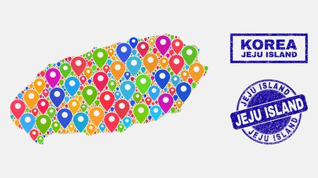 Vector colorful mosaic Jeju Island map and grunge stamp seals. Abstract Jeju Island map is designed from randomized colorful geo positions. Stamp seals are blue, with rectangle and rounded shapes.