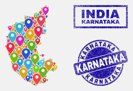 Vector bright mosaic Karnataka State map and grunge watermarks. Abstract Karnataka State map is composed from scattered bright site pointers. Watermarks are blue, with rectangle and rounded shapes. Illustration