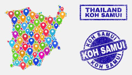 Vector colorful mosaic Koh Samui map and grunge stamps. Abstract Koh Samui map is designed from scattered colorful site markers. Stamps are blue, with rectangle and round shapes. Illustration