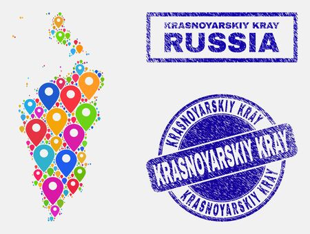 Vector colorful mosaic Krasnoyarskiy Kray map and grunge stamp seals. Flat Krasnoyarskiy Kray map is composed from random colorful geo pointers. Stamp seals are blue, with rectangle and round shapes.