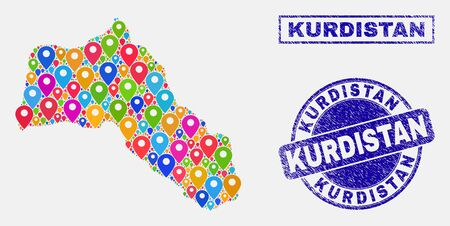 Vector colorful mosaic Kurdistan map and grunge seals. Abstract Kurdistan map is designed from random colorful site pins. Seals are blue, with rectangle and round shapes. 일러스트