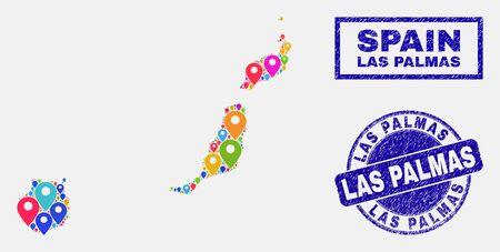 Vector colorful mosaic Las Palmas Province map and grunge stamp seals. Abstract Las Palmas Province map is designed from scattered bright geo pointers. Stamp seals are blue,