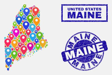 Vector colorful mosaic Maine Land map and grunge watermarks. Flat Maine Land map is created from random colorful navigation positions. Watermarks are blue, with rectangle and round shapes.