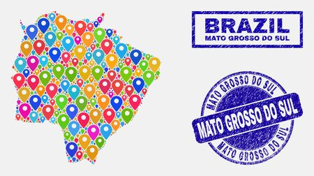 Vector bright mosaic Mato Grosso do Sul State map and grunge seals. Abstract Mato Grosso do Sul State map is designed from scattered bright map pointers. Stamp seals are blue, Standard-Bild - 124528851