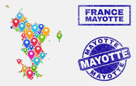Vector bright mosaic Mayotte Islands map and grunge stamp seals. Flat Mayotte Islands map is formed from scattered bright site symbols. Stamp seals are blue, with rectangle and rounded shapes.