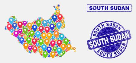 Vector colorful mosaic South Sudan map and grunge stamp seals. Abstract South Sudan map is created from scattered colorful navigation icons. Stamp seals are blue, with rectangle and round shapes. Illustration