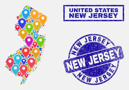 Vector colorful mosaic New Jersey State map and grunge stamp seals. Abstract New Jersey State map is composed from scattered bright site symbols. Seals are blue, with rectangle and round shapes.