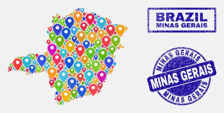 Vector colorful mosaic Minas Gerais State map and grunge stamp seals. Flat Minas Gerais State map is designed from random colorful site positions. Seals are blue, with rectangle and round shapes. Standard-Bild - 124529322