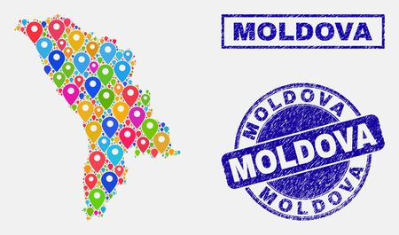 Vector colorful mosaic Moldova map and grunge seals. Flat Moldova map is designed from randomized colorful site markers. Seals are blue, with rectangle and rounded shapes. Illustration