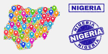 Vector bright mosaic Nigeria map and grunge watermarks. Flat Nigeria map is created from random bright map locations. Watermarks are blue, with rectangle and rounded shapes. Illustration