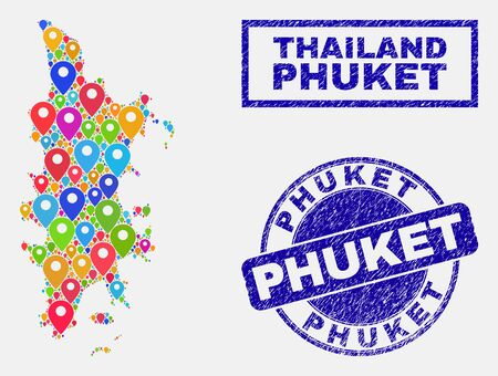 Vector colorful mosaic Phuket map and grunge watermarks. Flat Phuket map is formed from random colorful navigation locations. Watermarks are blue, with rectangle and rounded shapes. Иллюстрация