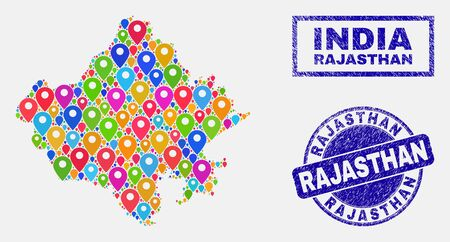 Vector colorful mosaic Rajasthan State map and grunge seals. Abstract Rajasthan State map is designed from randomized colorful site locations. Stamp seals are blue, with rectangle and rounded shapes.