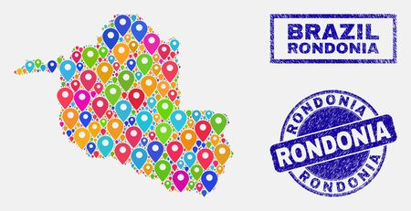 Vector bright mosaic Rondonia State map and grunge watermarks. Abstract Rondonia State map is formed from randomized bright navigation icons. Stamps are blue, with rectangle and round shapes. Standard-Bild - 124529425