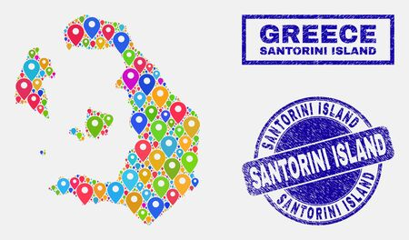 Vector bright mosaic Santorini Island map and grunge stamp seals. Abstract Santorini Island map is created from scattered bright map icons. Stamp seals are blue, with rectangle and round shapes. Illusztráció