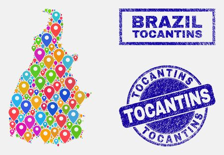 Vector bright mosaic Tocantins State map and grunge seals. Abstract Tocantins State map is designed from scattered bright map pins. Seals are blue, with rectangle and rounded shapes. Standard-Bild - 124529534