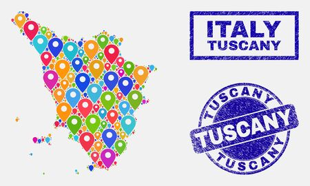 Vector bright mosaic Tuscany region map and grunge stamp seals. Abstract Tuscany region map is created from scattered bright site symbols. Stamp seals are blue, with rectangle and round shapes.
