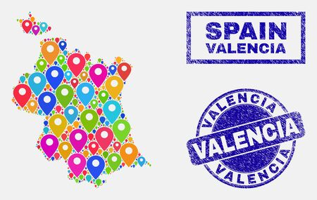 Vector bright mosaic Valencia Province map and grunge stamp seals. Abstract Valencia Province map is composed from scattered bright map positions. Stamp seals are blue,