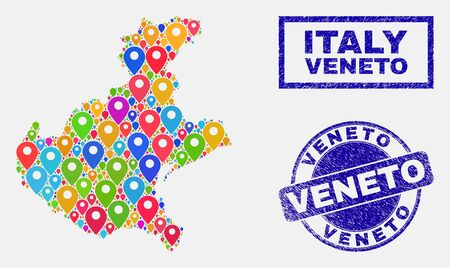 Vector colorful mosaic Veneto region map and grunge seals. Flat Veneto region map is designed from scattered colorful map icons. Stamp seals are blue, with rectangle and rounded shapes.