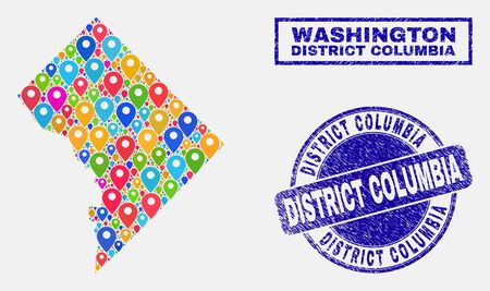 Vector bright mosaic Washington District Columbia map and grunge stamp seals. Flat Washington District Columbia map is composed from randomized bright site pins. Stamp seals are blue,