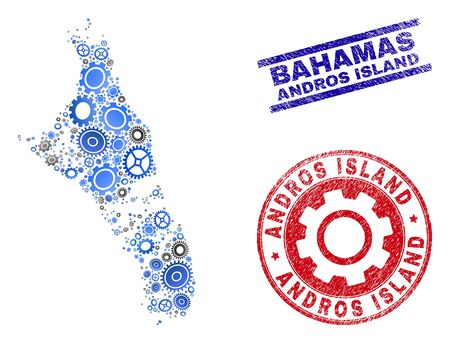 Workshop vector Andros Island of Bahamas map mosaic and seals. Abstract Andros Island of Bahamas map is designed with gradient random gear wheels.