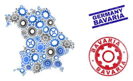 Wheel vector Bavaria Land map collage and seals. Abstract Bavaria Land map is done from gradiented random cogs. Engineering territorial plan in gray and blue colors, Çizim