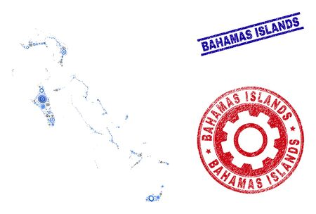 Industrial vector Bahamas Islands map composition and stamps. Abstract Bahamas Islands map is created of gradient random gearwheels. Engineering territory scheme in gray and blue colors,