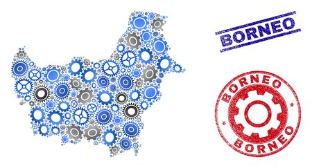 Repair workshop vector Borneo map collage and seals. Abstract Borneo map is created with gradiented random cogs. Engineering geographic scheme in gray and blue colors, Ilustração