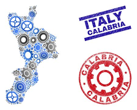 Service vector Calabria region map composition and seals. Abstract Calabria region map is formed from gradiented randomized gears. Engineering territorial scheme in gray and blue colors,
