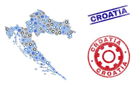 Cog vector Croatia map collage and seals. Abstract Croatia map is designed from gradient scattered cogwheels. Engineering territory scheme in gray and blue colors, Illustration