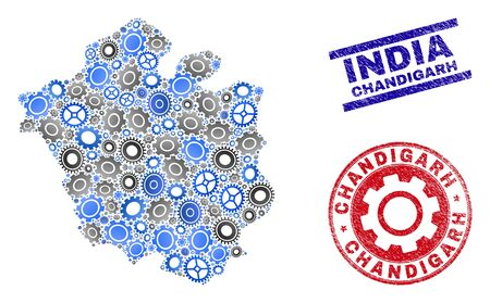 Gear vector Chandigarh City map collage and stamps. Abstract Chandigarh City map is constructed from gradient randomized gears. Engineering territory plan in gray and blue colors,
