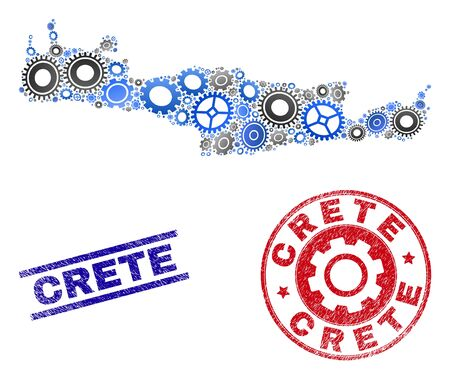 Service vector Crete map collage and seals. Abstract Crete map is created from gradiented randomized cogwheels. Engineering geographic scheme in gray and blue colors,