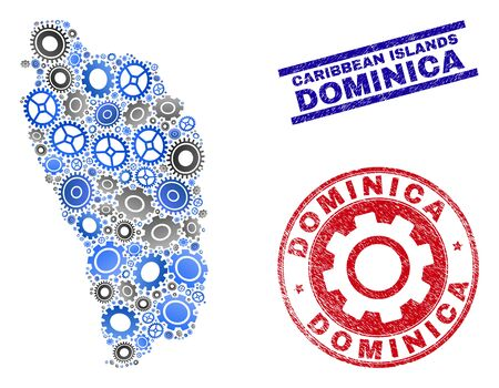 Service vector Dominica Island map composition and seals. Abstract Dominica Island map is formed from gradiented randomized cogs. Engineering territorial scheme in gray and blue colors,