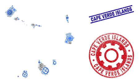 Gear vector Cape Verde Islands map collage and seals. Abstract Cape Verde Islands map is done from gradient randomized gear wheels. Engineering territory plan in gray and blue colors, Vectores