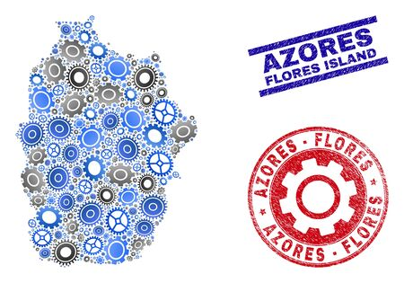Service vector Flores Island of Azores map mosaic and seals. Abstract Flores Island of Azores map is created with gradiented scattered gearwheels. Engineering territory plan in gray and blue colors,