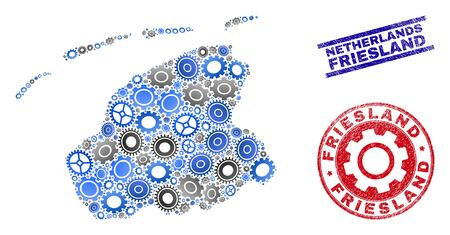 Repair workshop vector Friesland Province map mosaic and stamps. Abstract Friesland Province map is organized of gradient random gearwheels. Engineering territory plan in gray and blue colors,
