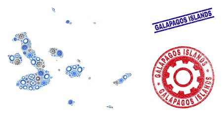Service vector Galapagos Islands map collage and seals. Abstract Galapagos Islands map is composed with gradiented randomized gear wheels. Engineering territory scheme in gray and blue colors,