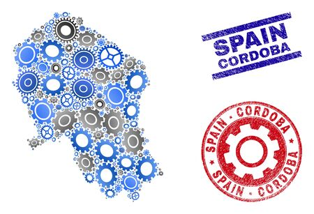 Gear vector Cordoba Spanish Province map mosaic and seals. Abstract Cordoba Spanish Province map is designed from gradiented random cogwheels. Engineering geographic scheme in gray and blue colors,