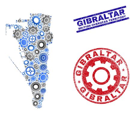 Repair workshop vector Gibraltar map composition and stamps. Abstract Gibraltar map is organized of gradiented randomized gearwheels. Engineering geographic scheme in gray and blue colors, Illustration