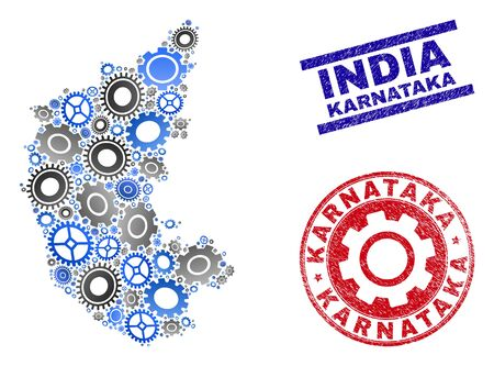 Gear vector Karnataka State map collage and stamps. Abstract Karnataka State map is constructed with gradient scattered cogwheels. Engineering geographic plan in gray and blue colors,