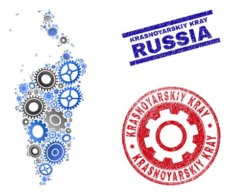 Repair service vector Krasnoyarskiy Kray map collage and stamps. Abstract Krasnoyarskiy Kray map is done of gradiented randomized cogwheels. Engineering territory scheme in gray and blue colors,  イラスト・ベクター素材