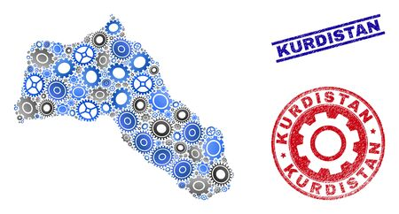 Wheel vector Kurdistan map mosaic and seals. Abstract Kurdistan map is designed with gradiented randomized gear wheels. Engineering territorial plan in gray and blue colors, Çizim