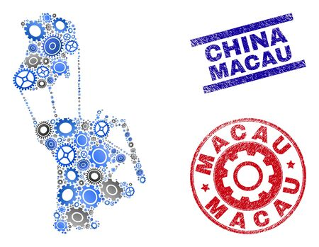 Wheel vector Macau map composition and seals. Abstract Macau map is formed with gradiented scattered cogs. Engineering geographic plan in gray and blue colors,