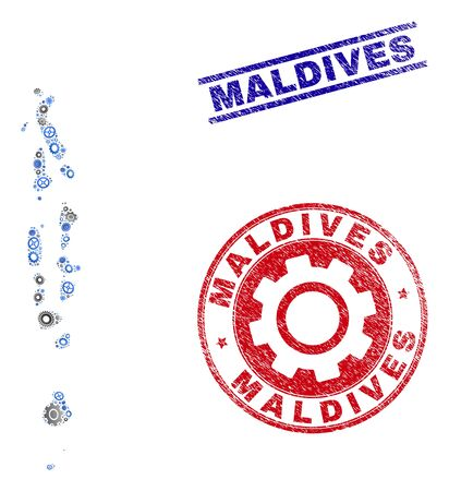 Repair workshop vector Maldives map mosaic and stamps. Abstract Maldives map is done from gradiented scattered cogs. Engineering territory plan in gray and blue colors,