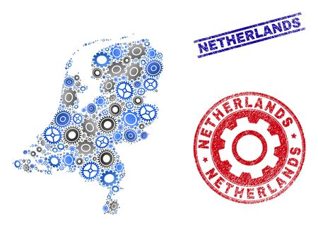 Gear vector Netherlands map collage and stamps. Abstract Netherlands map is created of gradient randomized gear wheels. Engineering territory plan in gray and blue colors, Stock Illustratie