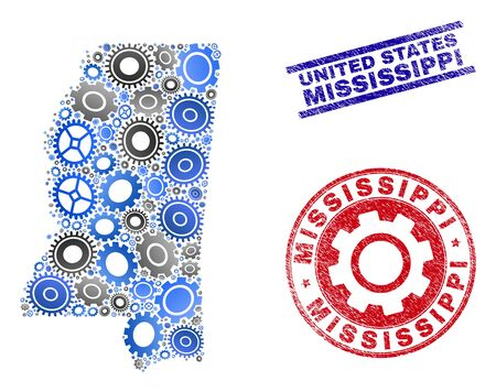 Workshop vector Mississippi State map mosaic and seals. Abstract Mississippi State map is constructed with gradiented scattered gear wheels. Engineering geographic plan in gray and blue colors, Illustration