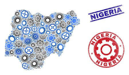 Wheel vector Nigeria map collage and seals. Abstract Nigeria map is formed with gradiented random gear wheels. Engineering territory scheme in gray and blue colors, Stock Vector - 124837700