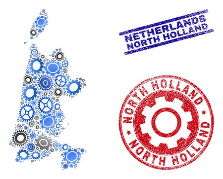 Gear vector North Holland map mosaic and seals. Abstract North Holland map is designed with gradient randomized gear wheels. Engineering territorial plan in gray and blue colors,